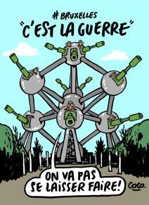Coco, dessinatrice de Charlie Hebdo, dessine pour Bruxelles. Crédit: Coco