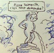 L'auteur du Chat du Rabin revisite un des monuments phares de Bruxelles: Le Manneken Pis. Crédit: Joann Sfar