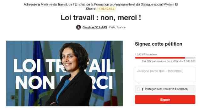 La pétition contre la loi El Khomri sur Change.org a battu le record de signature en France. (Capture d'écran Change.org)
