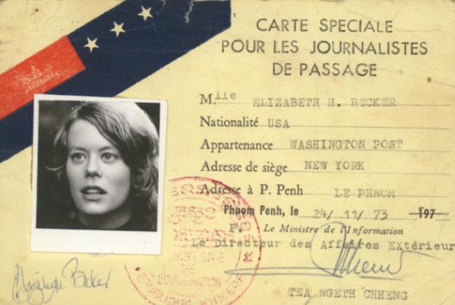 Carte de presse de la journaliste et auteure américaine Elizabeth Becker en 1973. Elle a couvert la guerre civile au Cambodge dès 1972 pour le Washington Post. (Source : Elizabeth Becker)