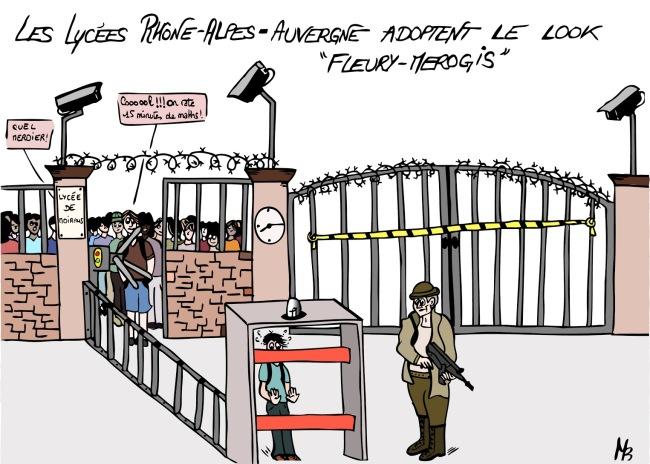 Laurent Wauquiez, président de la région Rhône-Alpe-Auvergne, annonce en janvier un renforcement de la sécurité dans les lycées. La mise en place de tourniquets et de portiques doivent permettre de lutter contre le trafic de drogue et le terrorisme. La réforme fait débat.(Maïlys Belliot)