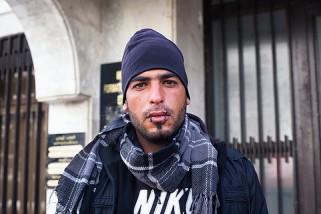 Un chômeur s'est cousu labouche pour protester contre le manque de travail en Tunisie.Crédit photo:Clara Lafuente