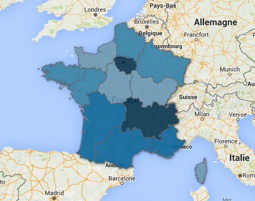 La région Provence-Alpes-Côte-D'azur est la troisième à proposer le plus de projets d'embauches, après l'Île de France et Rhône-Alpes Auvergne. Cliquez sur la carte pour la découvrir. (Crédit LS)