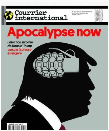 « Apocalypse now » un titre qui interpelle, avec une illustration toute aussi parlante. Courrier International a fait le choix d'une Une plutôt marquante.