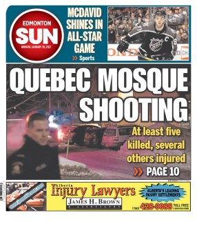Le Journal de Québec et le Ottawa Sun mettent en Une l'attaque. (Crédit: D.R.)
