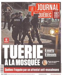 Le Journal de Québec et le Ottawa Sun mettent en Une l'attaque. (Crédit: D.R)