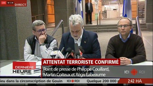 Le Premier Ministre du Québec, Philippe Couillard, le Maire de la ville Régis Labeaume et Martin Coiteux. (Crédit: Capture d'écran)