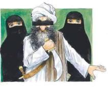 Sur cette caricature de Rasmus Sand Hoyer. On y voit Mahomet furieux avec deux femmes voilées derrière lui.